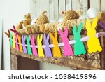 easter bunny decoration paper...   Shutterstock . vector #1038419896