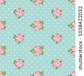 shabby chic rose seamless...   Shutterstock .eps vector #1038422032
