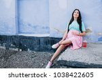 pregnant stylish girl in a pink ... | Shutterstock . vector #1038422605