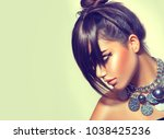 fringe hairstyle. fashion...   Shutterstock . vector #1038425236