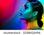 high fashion model woman in... | Shutterstock . vector #1038426496