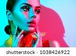 high fashion model woman in... | Shutterstock . vector #1038426922