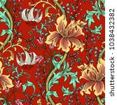 colorful floral seamless vector ... | Shutterstock .eps vector #1038432382