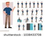 Stock vector set of man working in office and presentation in various action 1038433708