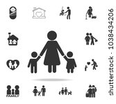 mother children pictograph with ... | Shutterstock .eps vector #1038434206
