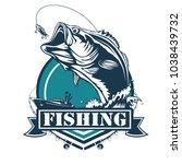 fishing bass logo. bass fish... | Shutterstock .eps vector #1038439732