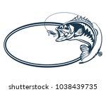 fishing bass logo. bass fish... | Shutterstock .eps vector #1038439735