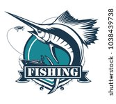 marlin fish logo.sword fish... | Shutterstock .eps vector #1038439738