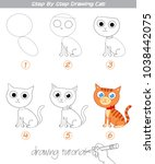drawing tutorial. step by step... | Shutterstock .eps vector #1038442075