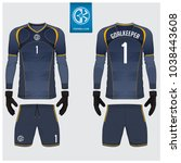 goalkeeper jersey or soccer kit ... | Shutterstock .eps vector #1038443608