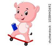 cute hippo playing skateboard | Shutterstock . vector #1038443692
