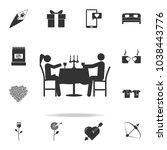 romantic dinner for two icon.... | Shutterstock .eps vector #1038443776