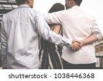 homosexual man hug woman while... | Shutterstock . vector #1038446368