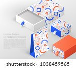 creative pattern on packaging... | Shutterstock .eps vector #1038459565