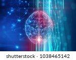 3d rendering of human  brain on ... | Shutterstock . vector #1038465142