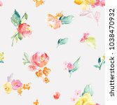 watercolor flower pattern with... | Shutterstock . vector #1038470932