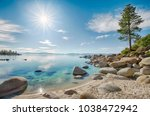 lake tahoe east shore beach ... | Shutterstock . vector #1038472942