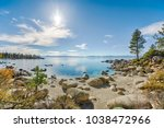 lake tahoe east shore beach ... | Shutterstock . vector #1038472966