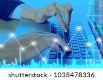 businessman on digital stock... | Shutterstock . vector #1038478336