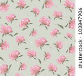 Floral Pattern Of Pink Peony O...