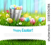 easter greeting card with... | Shutterstock .eps vector #1038506386