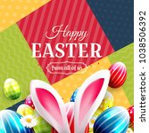 colorful easter greeting card... | Shutterstock .eps vector #1038506392