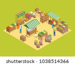 farm local market concept 3d... | Shutterstock .eps vector #1038514366