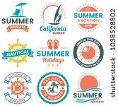 summer retro vector logo for... | Shutterstock .eps vector #1038528802