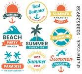 summer retro vector logo for... | Shutterstock .eps vector #1038528958