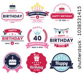 happy birthday vector logo for... | Shutterstock .eps vector #1038531415