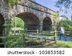 women walking    railway bridge ...   Shutterstock . vector #103853582