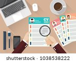 hand writing curriculum vitae... | Shutterstock .eps vector #1038538222