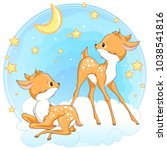 cute baby deers in the sky with ... | Shutterstock .eps vector #1038541816