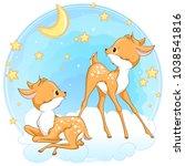 cute baby deers in the sky with ... | Shutterstock .eps vector #1038541816