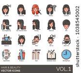 hair   beauty icons. hair cut ...   Shutterstock .eps vector #1038545002
