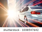 Stock photo speed race car with light effect 1038547642