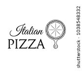 pizza on a wooden shovel.... | Shutterstock .eps vector #1038548332