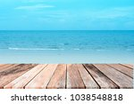 Empty Wood Table With Beach An...