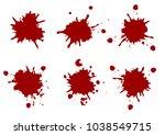vector red color paint splatter ... | Shutterstock .eps vector #1038549715