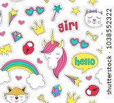 seamless pattern with stickers... | Shutterstock .eps vector #1038552322