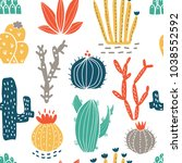 succulents and cacti plants.... | Shutterstock .eps vector #1038552592