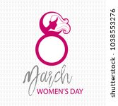 women's day card with pattern... | Shutterstock .eps vector #1038553276