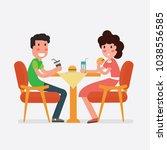 vector flat design young couple ... | Shutterstock .eps vector #1038556585