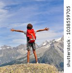 boy looking at mountains ... | Shutterstock . vector #1038559705
