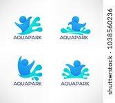 vector collection of aqua park... | Shutterstock .eps vector #1038560236
