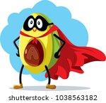 superhero avocado super food... | Shutterstock .eps vector #1038563182
