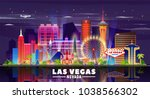 las vegas skyline with panorama ... | Shutterstock .eps vector #1038566302