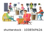 coworkers at work. male and... | Shutterstock .eps vector #1038569626