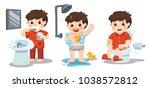 a boy taking a bath  brushing... | Shutterstock .eps vector #1038572812