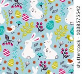 hand drawing easter pattern in... | Shutterstock .eps vector #1038575542